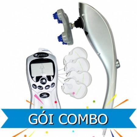Combo máy massage cầm tay 11 đầu + máy VLTL 4 miếng dán