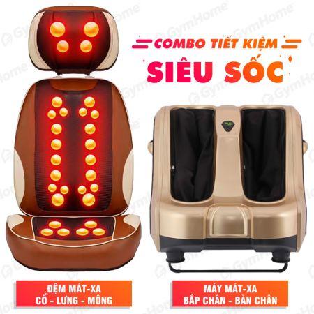 COMBO Đệm ghế massage + Máy massage chân cao cấp
