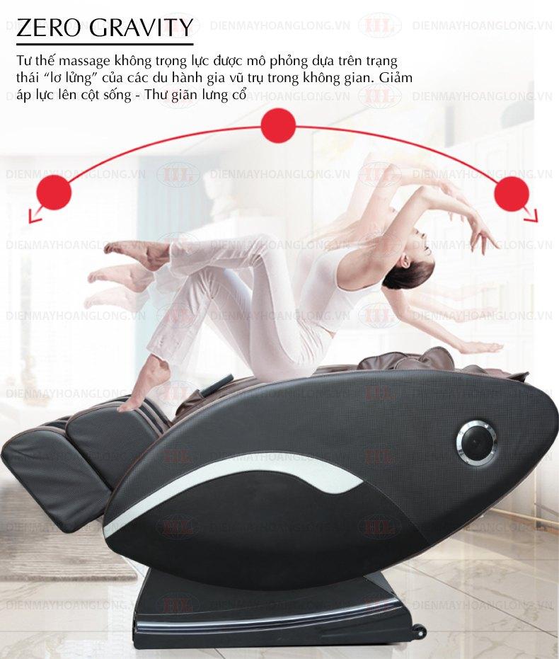 Các vị trí không trọng lực massage thư giãn cơ thể, vì nó phù hợp với vị trí massage cơ thể, và bằng cách đơn giản chỉ một nút nhấn, lưng và lưỡi vai được đồng thời đưa đến một vị trí không trọng lực, thấp nhất là 70 độ, sau đó thông qua trung tâm với các vị trí thích hợp massage.