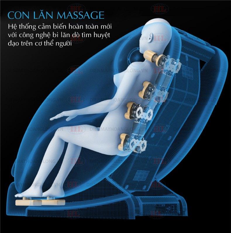 Các con lăn massage có nhiều liên lạc tốt hơn với vùng thắt lưng, cho phép toàn bộ cơ thể để tận hưởng một vị trí massage thích hợp.