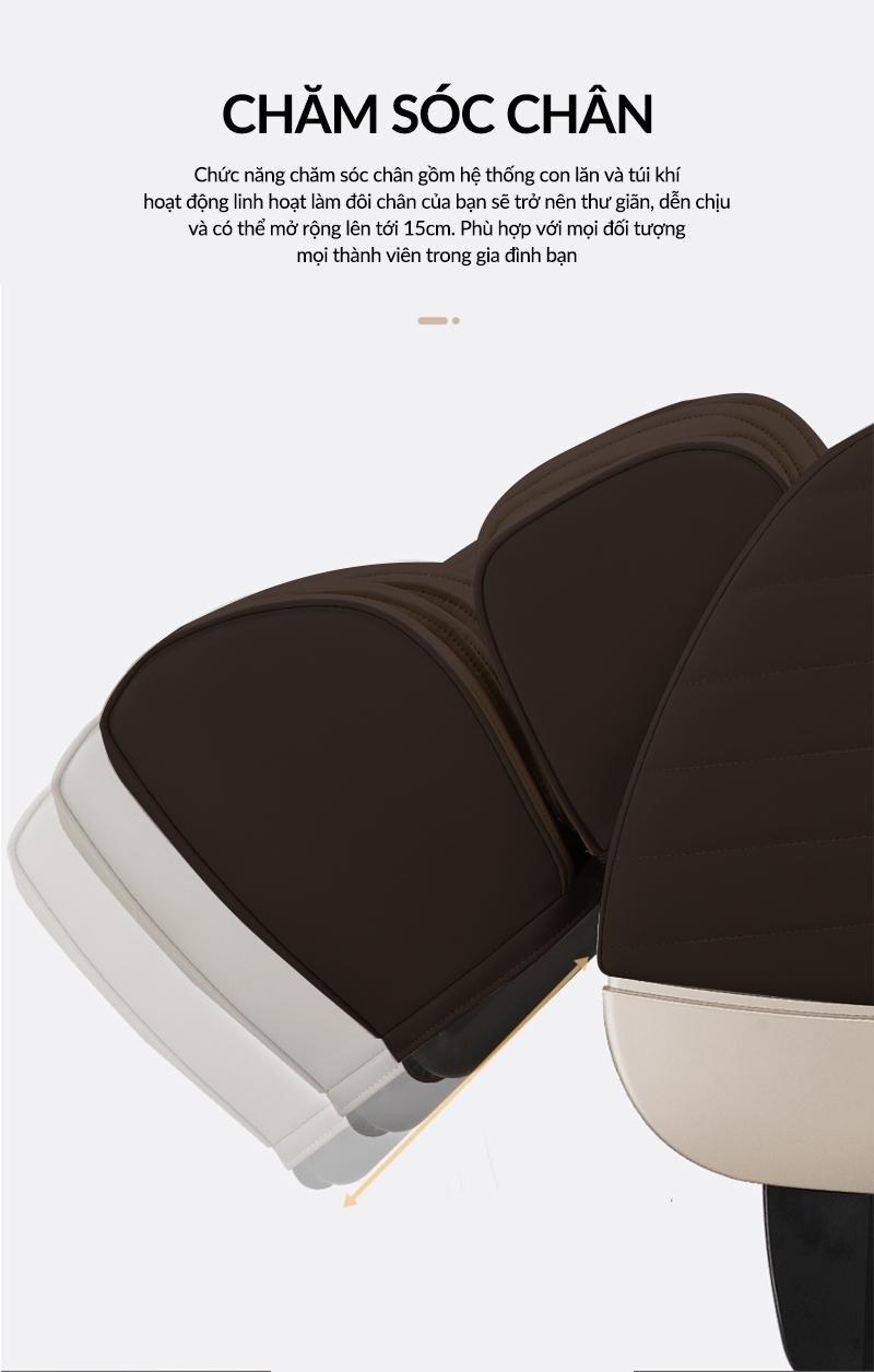 Phân chân ghế kéo dài, ôm sát giúp massage đôi chân kỹ hơn