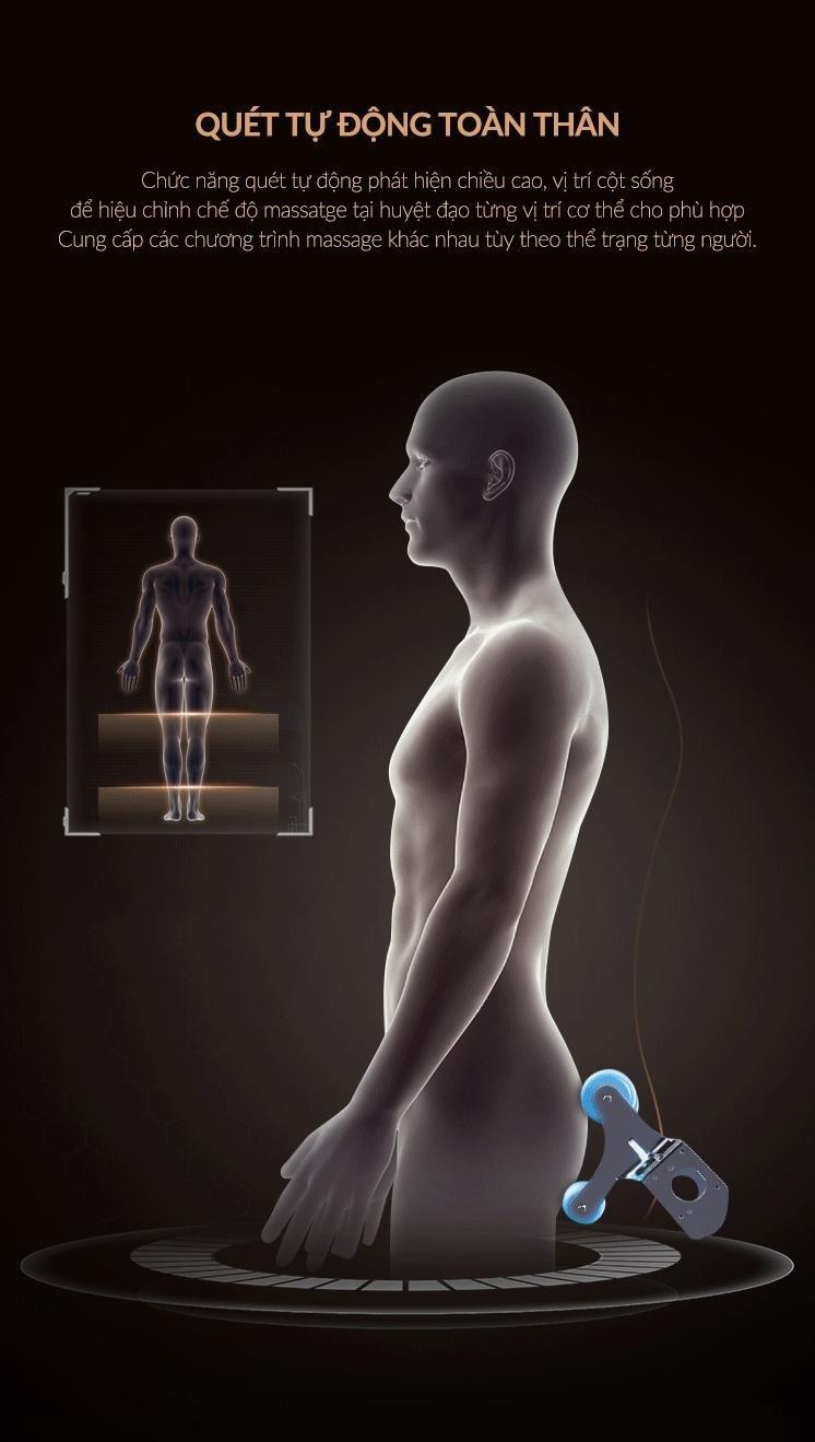 Tính năng quét tự động định vị chiều cao cơ thể giúp massage chuẩn xác hơn