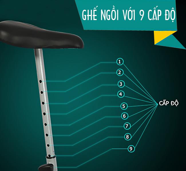 Xe đạp tập thể dục iBike8.2i có 9 nấc nâng yên ngồi